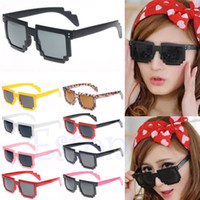 Wholesale Pixelated Glasses - Wholesale-OP-On Sale Retro Trendy Novelty Unisex Cool Pixel Glasses Pixelated Style Square Sunglasses 9Colors Free Shipping