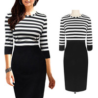 Wholesale Clubwear Zipper - S5Q Evening Pencil Dress Women Stripe Round Neck Bodycon Party Cocktail Evening Pencil Dress Clubwear AAADRC