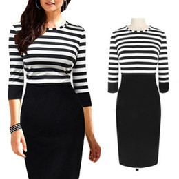 Wholesale Stripe Pencil Dress - S5Q Evening Pencil Dress Women Stripe Round Neck Bodycon Party Cocktail Evening Pencil Dress Clubwear AAADRC