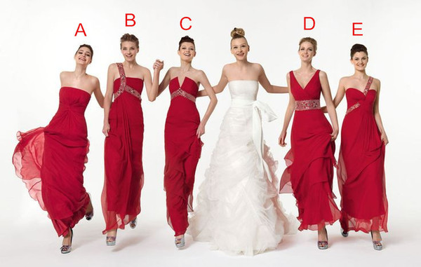 Hot Sales Five Styles Long Chiffon 2019 Bridesmaid Dresses Cheap One Shoulder V-Neck Strapless Ruffles Bead Floor Length Empire Formal Gowns