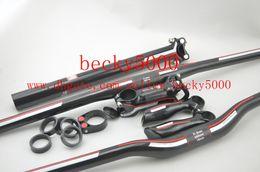 manillar plano mtb Rebajas ¡Envío gratis! Manubrio de fibra de carbono manillar MTB manillar plano / tija de sillín / tallo / tapa superior / extremos de la barra / arandelas / abrazadera de tija de sillín
