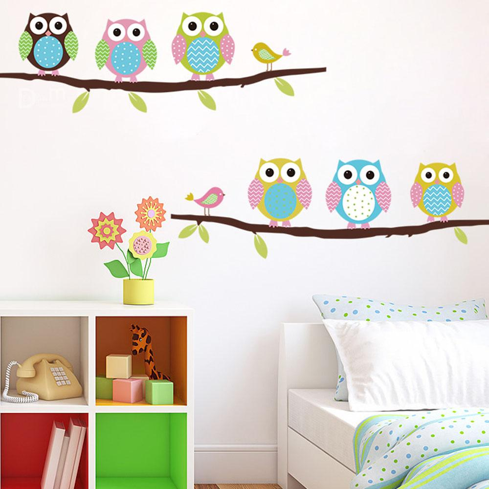 Tree Design Wallpaper Living Room Cartoon Cute Six Owl On Tree Diy Wall Sticke Wallpaper Stickers