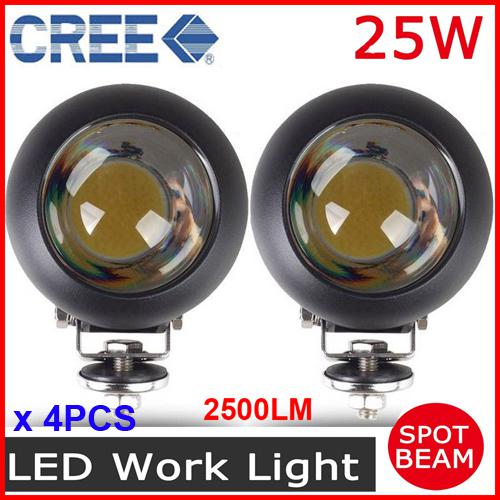 4 25w Cree Led Driving Work Light Cob Chip Off Road Suv