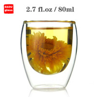 Wholesale Clear Glass Tea Cup Wholesale - 6PC   Lot 2.7 fl.oz 80ml Small Handmade Heat-Resisting Double Wall Clear Pyrex Glass Water Wine Coffee China Kungfu Tea Cups Drink Mugs