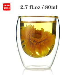 Wholesale Coffee Water Glass - 6PC   Lot 2.7 fl.oz 80ml Small Handmade Heat-Resisting Double Wall Clear Pyrex Glass Water Wine Coffee China Kungfu Tea Cups Drink Mugs