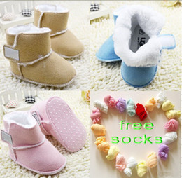 Wholesale Toddler Soft Boots - 8%off!Brand Boots!Warm!Pure cotton!infant Non-slip soft bottom toddler shoes!(6pairs baby boots+6pairs free socks)DROP SHIPPING12pairs lot.C