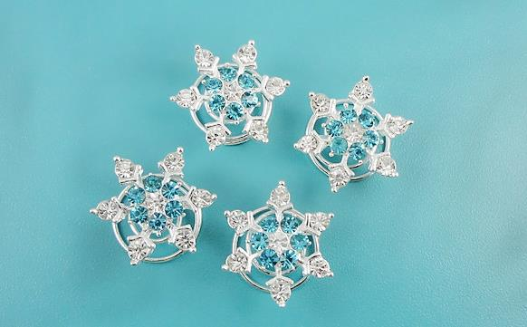 Wedding party favor headdress fancy dress crystal snowflake hair clips rhinestone screw clamp tiaras halloween Cosplay props white blue