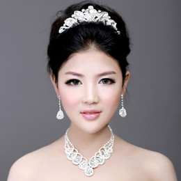 Wholesale Bridal Victorian Tiaras - 2014 In stock Free Shipping Blink Victorian Clear Austrian Rhinestone Crystals Tiaras+Necklace+Earrings Wedding Bridal Jewelry Sets