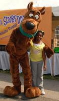 tamanho do adulto do traje da mascote do cão venda por atacado-Scooby scooby-doo Cão Dos Desenhos Animados de pelúcia traje Da Mascote animal Marinho Trajes Da Mascote tamanho adulto Frete grátis