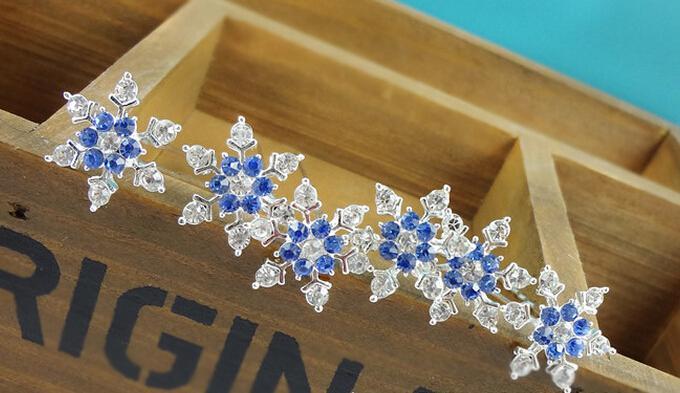 Christmas party favor rhinestone diamond snowflake hair clips fancy dress crystal U hairpin tiaras Halloween Cosplay props women girl gift