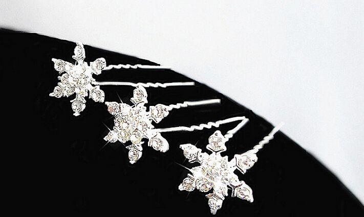 Donne gioielli da sposa da sposa principessa fiocco di neve clip di capelli ragazza strass diamante U tornante diademi pettini partito Cosplay prop regalo