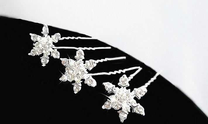 Women bridal wedding hair jewelry princess snowflake hair clips girl rhinestone diamond U hairpin tiaras combs party Cosplay prop gift