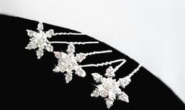 Wholesale Tiara Supplies Wholesale - Christmas party favor rhinestone diamond snowflake hair clips fancy dress crystal U hairpin tiaras Halloween Cosplay props women girl gift