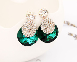 Wholesale Glitter Studs - 2017 fashion accessories ornaments glittering crystal round rhinestone individual character is gold stud earrings for women