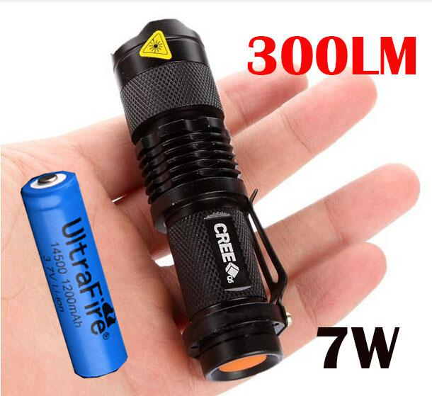 DHL, UltraFire Zoomable CREE Q5 300LM Mini LED Torcia impermeabile per torcia 7W Zoomable + Ultrafire 14500 Batteria ricaricabile
