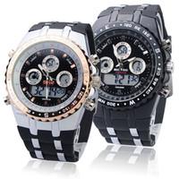 Wholesale Backlight Stopwatch - Wholesale-Digital Analog Waterproof Sport Dual Time Watch With Stopwatch Week Alarm Calendar EL Backlight Bistec