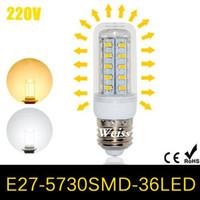 Wholesale G9 Led 11w - CREE High Bright LED lamps E27 5730 36LEDs Corn LED Bulb 220V 240V 11W Energy Efficient Spotlight Wall light 5730SMD 50pcs Lot