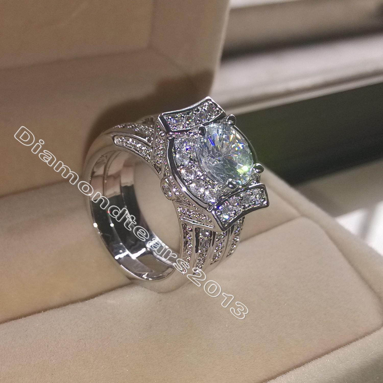 Tamaño 5-11 Joyería de Moda 14kt Oro Blanco Lleno Redondo Corte Simulado Diamante Blanco Topacio CZ Compromiso Mujeres Boda Anillo de Dedo Nupcial Conjunto