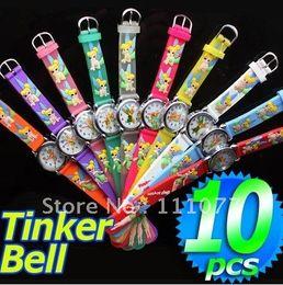 Wholesale Tinkerbell Wholesale Watches - Wholesale-Wholesale 10pcs Tinkerbell 3D Cartoon Soft Silicone Wrist Watch Watches For Kids Children Girls Boy