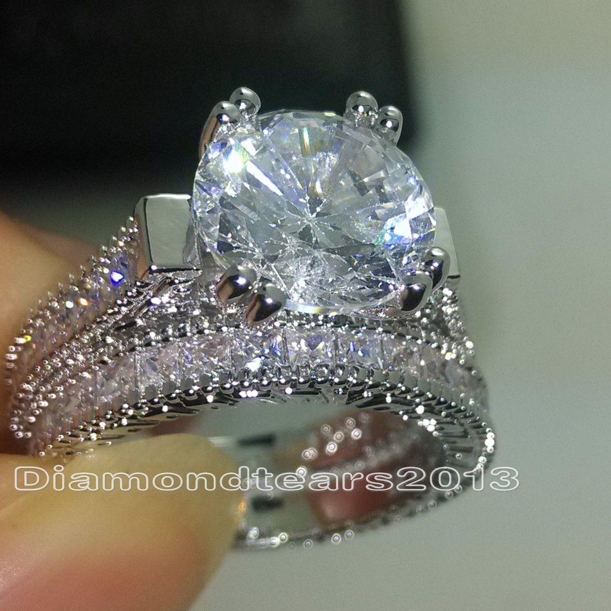 Größe 5-10 Modeschmuck 14KT Weißes Gold Gefüllt 6 MM Rundschnitt Topaz CZ Diamant Edelsteine Hochzeit Braut Paar Fingerringe für Frauen Geschenk