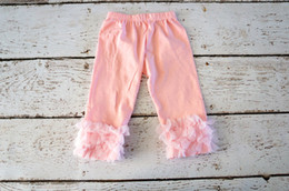 Jambières Tricotées Tout-petits Pas Cher-Hot Sale Girls Knitted Ruffle Pantalons Light Pink Double Ruffle Bottom Pantalons Bébé Pantalon Fall Toddler Outfit leggings