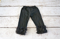 Wholesale baby knitted leggings - Girls Pants Leggings Solid Color Black Girls Knitted Ruffle Pants Petti Baby Pants Infant double ruffle pants