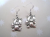 Wholesale Antique Pig - Earring, Antique silver *CUTE PIG PIGGY FLOWER* Earrings SP KITSCH NEW silver Fishhook Ear Wire (ab11)