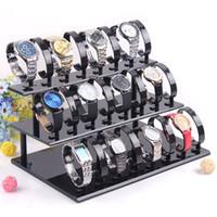pulseira de relógio de acrílico venda por atacado-Acrílico Três Camadas Removíveis Relógios Pulseira Jóias Display Stand De Armazenamento De Relógio De Luxo Show Stand Rack Holder