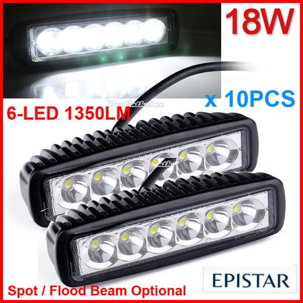 "10PCS 6"" 18W 6LED Driving Work Light Mini Bar Epistar Offroad SUV ATV 4WD 4x4 Spot / Flood Beam 9-32V 1350lm JEEP Truck Motorcycle Headlamp"