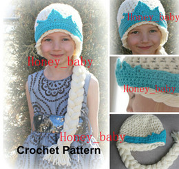 Wholesale Kids Hat Patterns Knit - Free Shipping Crochet Pattern FROZEN Queen Elsa Princess Anna Knit Hat Newborn Toddler Kids Baby Girls Cartoon Character Cap Children Beanie