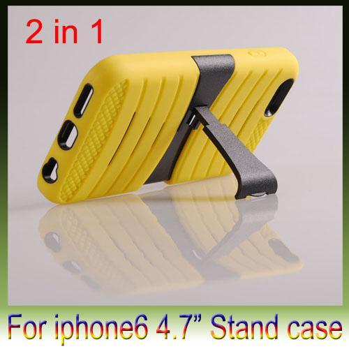1 PC + silikon Deprem Sert Geri standı kapak durumda Koruyucu Parantez durumlarda 2 iPhone 6 artı 4.7 5.5 inç için kapak