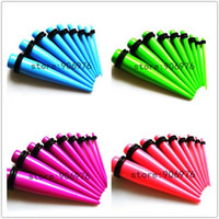 Wholesale Stretcher Plug Kit - Wholesale-OP-New 9 Pcs Ear Taper Retail acrylic ear taper Kit Gauges Expander Set Stretchers 1.6-10mm 9colors can choose black free shipping