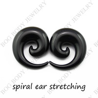 Wholesale Ear Tunnel Large - Wholesale-OP-Black Acrylic Spiral Ear Gauges Large Size Ear Tapers Stretching Plugs Expanders-(16mm 18mm 20mm 22mm 24mm)