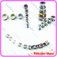 Atacado-op-9pcs / set Screw-Fix aço inoxidável 316L Ear Stud Flesh Tunnel plug Body Piercing Jewelry envio 3color Gota