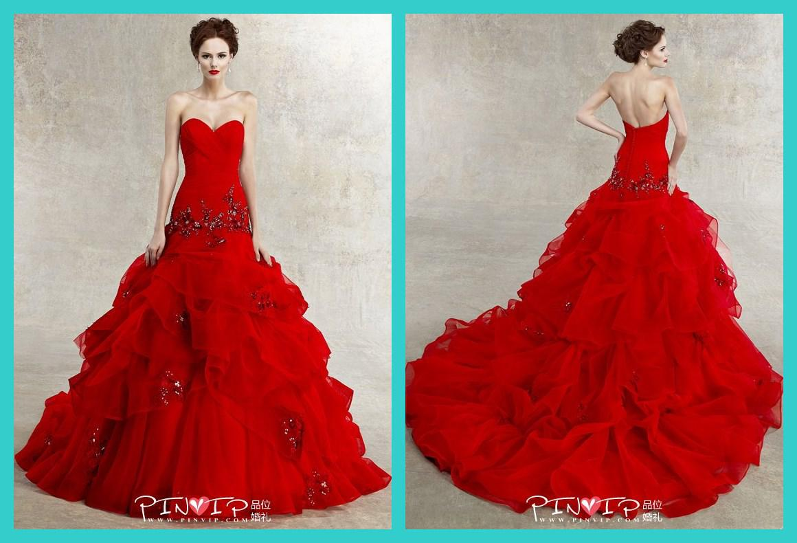 2015 New Kitty Chen All Red Wedding Dresses Appliqued Beaded ...