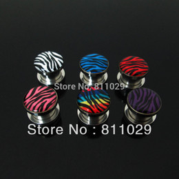 Wholesale Gold Ear Gauges - Wholesale-OP-New Hot body jewelry 16pcs ear gauges zebra printed ear tunnel stainless steel screw on Flesh Tunnel free shipping