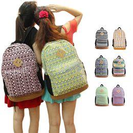Wholesale Womens School Shoulder Bags - S5Q Canvas Backpack Rucksack Womens Floral Satchel Shoulder School Bag Bookbag AAADPV