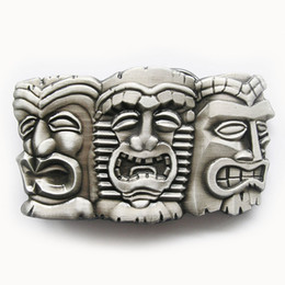 tiki masks NZ - New Vintage Three Tribal Tiki Tikki Masks Hiawaii Belt Buckle Boucle de ceinture