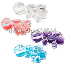 Wholesale Acrylic Glitter Plugs - Wholesale-OP-Liquid Glitter Filled Acrylic Double Flare Plugs ,72pcs lot