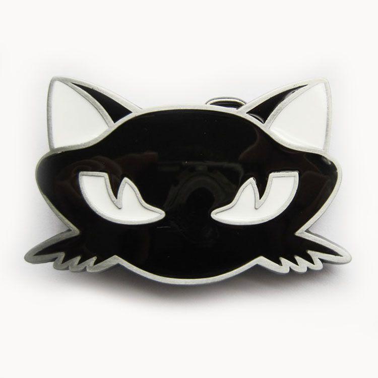 New Vintage Black Emaille Cat Animal Gürtelschnalle