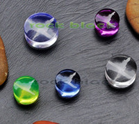Wholesale Colourful Plug - Wholesale-OP-5 design clear Colourful acrylic ear plug ear stretcher flesh tunnel mixing colors and size