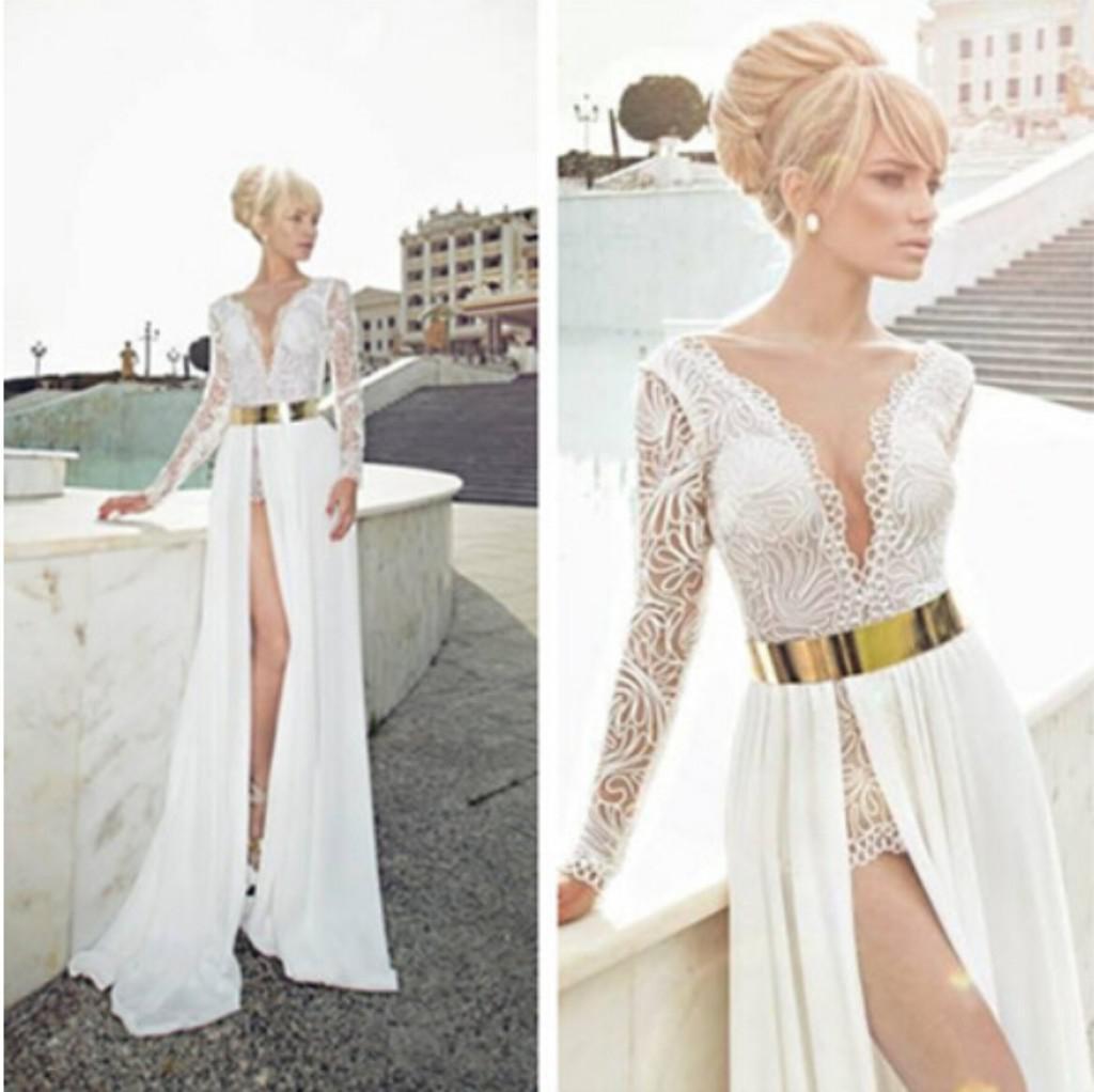 Graceful Sheath Wedding Dresses 2015 Summer A Line V Neck: Julie Vino 2014 Three Styles Illusion Neck Bateau V Neck