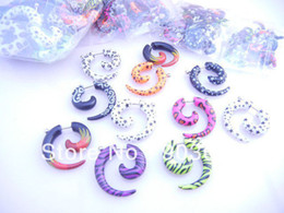 Wholesale Ear Cheat - Wholesale-OP-50pcs Free Shippment Body Jewelry- Hot printed Cheat Sprial Ear Plug Fake Ear Plug Illusion Plugs Tapers