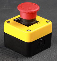 Wholesale Push Sign - LJP812-2 Free shipping 660V Red Sign Emergency Stop Push Button Switch