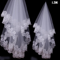 Wholesale Charms Cheap Free Ship - In Stock Free Shipping Charming Cheap Girls Wedding Bridal Accessories Veil For Wedding Lace White Ivory Color Hot Sale Charming Top 2017