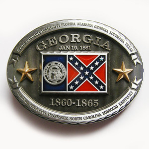 Men Belt Buckle New Vintage Confederate Georgia State Flag Rebel Cosplay Costume Belt Buckle Gurtelschnalle Boucle de ceinture BUCKLE-FG011 on Sale