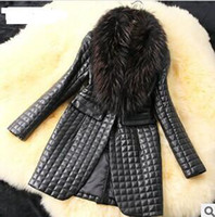 Wholesale The first order can get a mysterious gift Big raccoon Faux Fur fur collar sheep skin leather and cotton leather jacket long coat