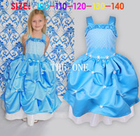 Wholesale Costume Braces - baby dress princess ball gown flower dress blue girls braces dress girls performance costume princess cosplay in kids costumes new arrival