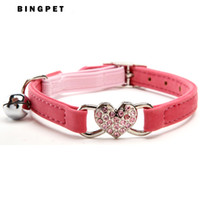 Wholesale Elastic Cat Collars - Free Shipping Bling Heart Cat Collar with Safety Elastic Belt & Bell 4 Colors Assorted for cats