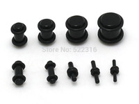 Wholesale Ear O Rings - Wholesale-1.6mm-10mm 90pcs acrylic black ear plug kits 2 black o rings plug gauge expander wholesale body piercing jewelry